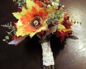 Autumn Beauty Fall Leaf Flower Bridal Bouquet - woodland, rustic, pine cone, dried flowers, pheasant feathers