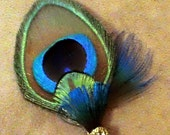 Peacock Boutonnieres- SET of 2 Regal Peacock Bouts