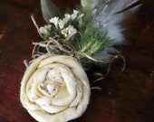 Rustic Spring Boutonniere - READY TO SHIP - woodland vintage fabric flower pearl garden feather pussy willow romantic