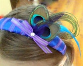 Flower Girl Custom Peacock Headband- wedding, pagent, dress up