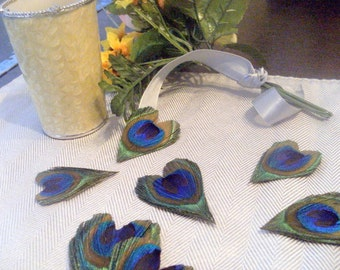 125 Peacock Feather Hearts- Wedding Favors Decor