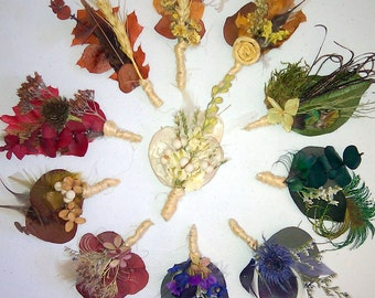 10 Natural Boutonniere You Pick Style and Color - Rustic, Woodland, Ecofriendy