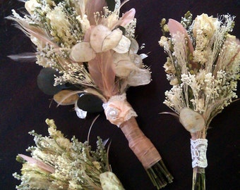 Natural Wedding Bouquet SET - Romantic Vintage Dried Roses Larkspur Champagne Blush Bleached Peacock Feathers Lunaria Ribbon Rose Pearl