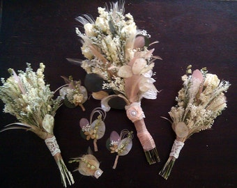 Natural Wedding Bouquet Boutonniere Hair clip Package Set - Romantic Vintage Dried Roses Champagne Blush Bleached Peacock Feathers