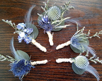 Rustic Wedding Boutonnieres -Set of 3 Grooms Groomsmen Blue Feather Natural Country Woodland Thistle Dried Flower Lavender Periwinkle