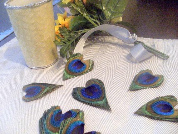 75 Peacock Feather Hearts- Wedding Favors Decor