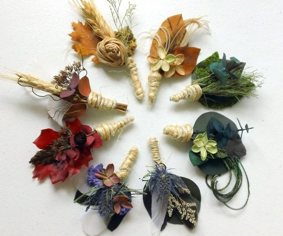 PAIR of You Pick Style and Color All Natural Boutonnieres
