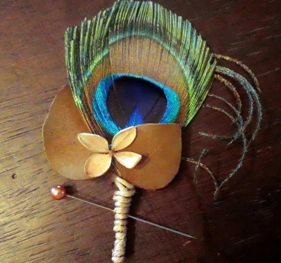 Set of 6 Field and Peacock Feather Wedding Boutonnieres