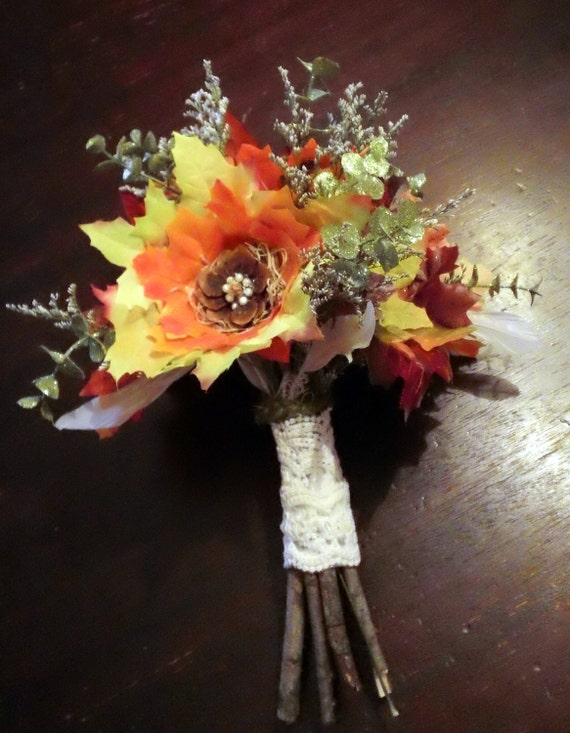 Autumn beauty fall leaf flower bridal bouquet woodland for Simple fall bridesmaid bouquets