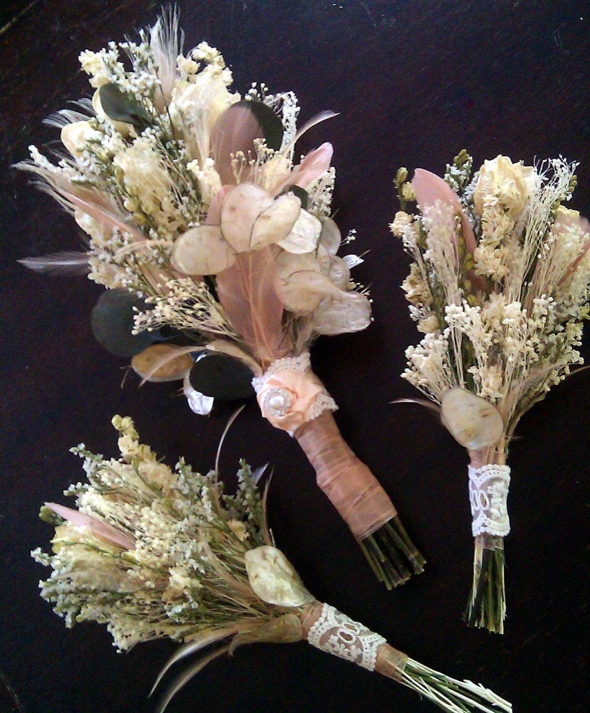 Vintage Wedding Flower Bouquets: Natural Wedding Bouquet SET Romantic Vintage Dried Roses
