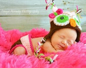 Newborn Owl Hat Baby Girl With Bow and Tassels and Diaper Cover Combo - free shipping-