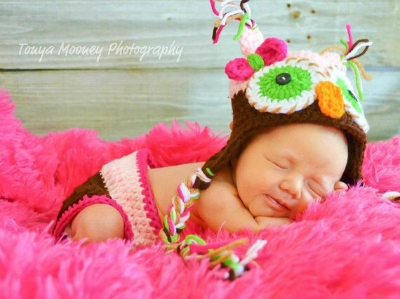 Newborn Owl Hat Baby Girl With Bow and Tassels - free shipping-