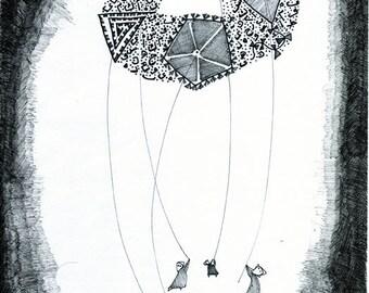 Kites,  Iraqi Arts, Children Room Decor, Whimsical, Children