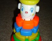 Vintage Stacking Clown Toy for Toddlers