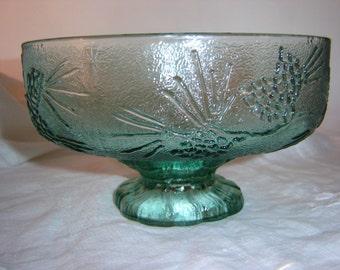 Vintage Tiara Glass Ponderosa Pine Fruit Bowl, Cabin Decor Bowl, Lodge Decor Bowl, Green Glass Bowl