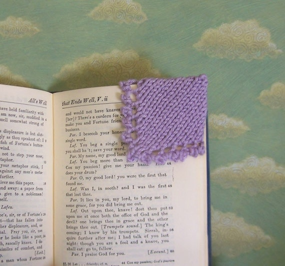 Hand Knit Corner Bookmark