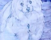 Maltese Portrait White Dog Art Reproduction Print by ITSAWONDERFULWALL