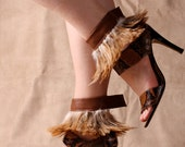 Leather and Natural Ginger Feather Ankle Cuff by ITSAWONDERFULWALL