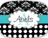 Personalized Melamine Tray Black and Teal