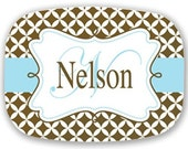 Personalized Melamine Tray- Brown and Blue