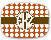 Personalized Fall Thanksgiving Orange and Brown Lattice or Polka Dot Platter