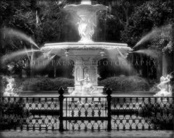 Forsyth Park Fountain Photograph Savannah Georgia 8x10 Black and White Photo Print