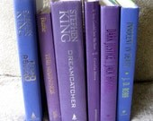 Decorative batch of 6 BLUE, VIOLET, PURPLE books for home staging, interior decoration, wedding, or photo props