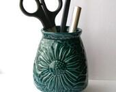 Small blue daisy vase