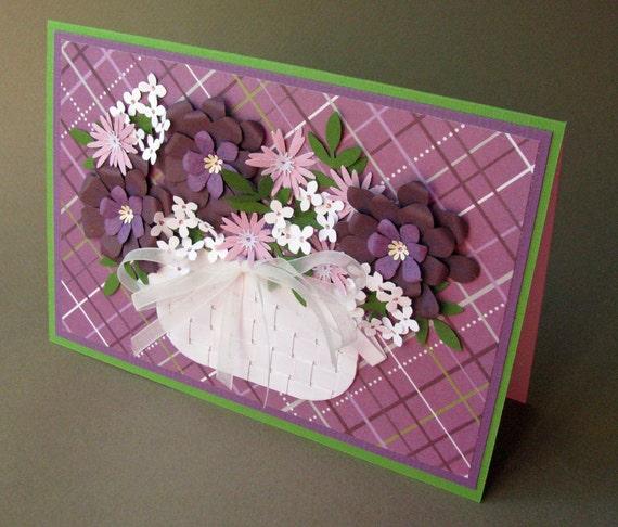 Flower Basket Card - You Pick the Sentiment