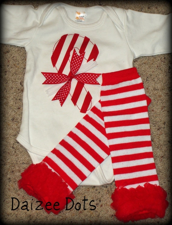 Christmas Candy baby girl set with candy cane onesie and chiffon ruffled leg warmers-long sleeve