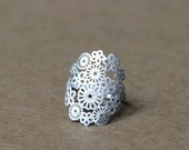Spring flowers matte silver plated ring