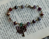 Queen Victoria Bracelet - czech glass beads and a copper crown