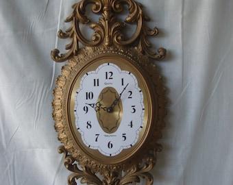 Vintage Ornate Gold New Haven Clock