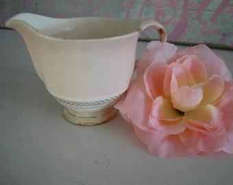 Vintage Antique Pink China Creamer, 22K Gold