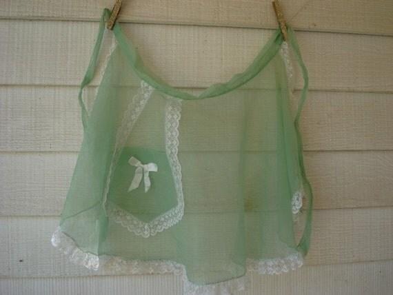 Vintage Sheer Mint Green Apron