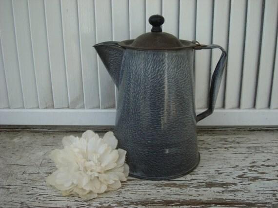VINTAGE Grey Enamelware Kettle