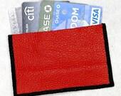Slim Pocket Wallet or Business Card or Credit Card Holder Handmade in Red Genuine Leather