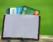 Slim Pocket Wallet or Business Card or Credit Card Holder Handmade in Lilac Light Purple Genuine Leather