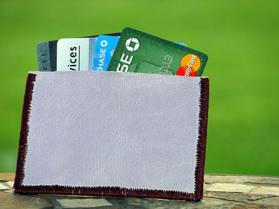 Slim Pocket Wallet or Business Card or Credit Card Holder Handmade in Lilac Light Purple Genuine Leather
