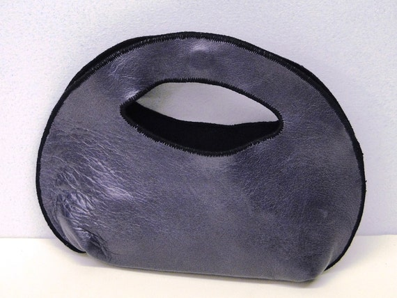 Simple, Small, Stylish Finger Clutch Handbag in Purple Genuine Leather Lined With Black Ultra-Suede