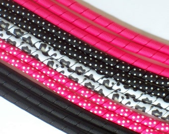 12yds--Leopard Chic---Black and Shocking Pink--Korker Ribbon