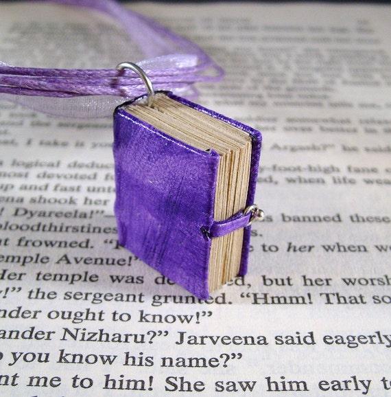 Miniature Book Necklace Mini Leather Book Charm Necklace Purple