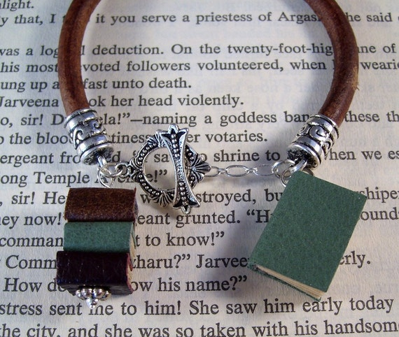 Miniature Book Charm Bracelet Book Charms and Greek Leather Bracelet