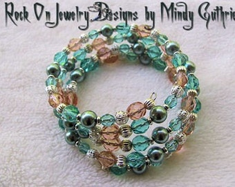 Teal Pearls Memory Wire Bracelet