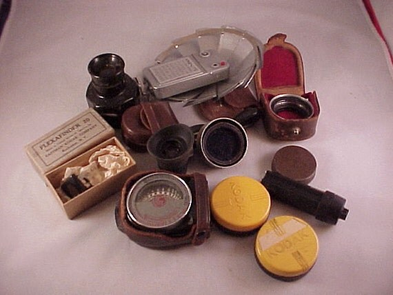 Vintage Camera Photography Lens and Attachments Lot