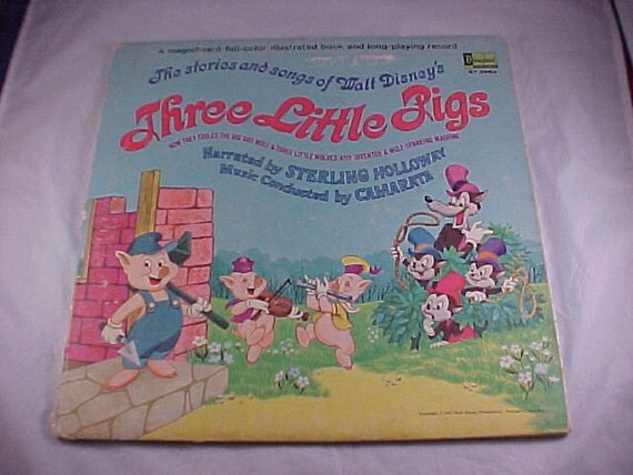 1967 Walt Disney's Three Little Pigs Vinyl Record Album and Book