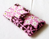 Pink and brown floral iphone, Ipod, Cell phone, blackberry, small camera pouch/cover