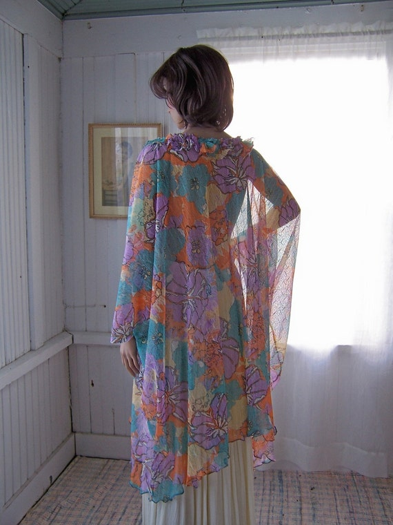 Multi Color Floral Lace Caftan Dress Semi Sheer One Size
