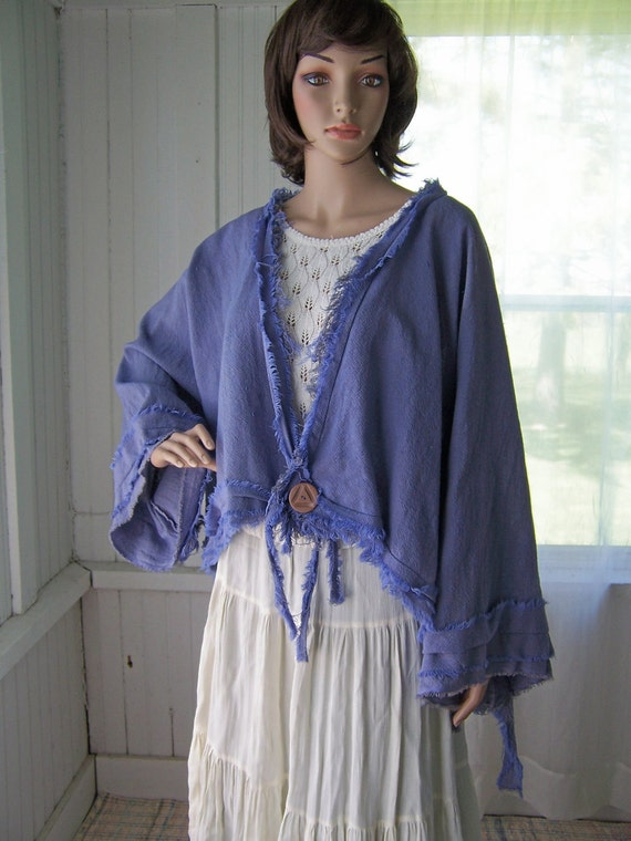 Lagenlook Short Summer Jacket Top Cotton Shrug Hand Dyed With Big Vintage Button Free Size
