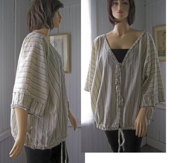 Womens Linen Drawstring Bottom Tunic Jacket Jumper Natural Color One Size